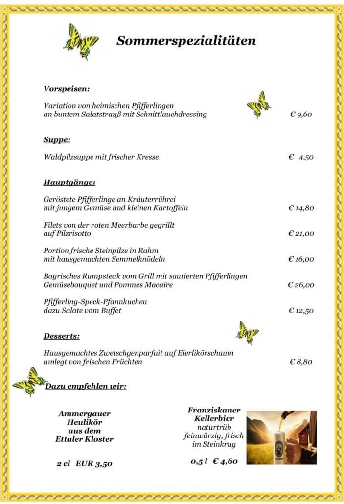 Sommerspezialitäten Alpenhof Grainau Bayerisches Sterne Restaurant