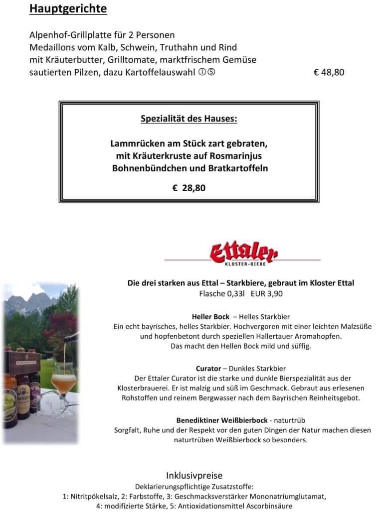 Speisekarte Alpenhof Grainau Zugspitze Sterne Restaurant