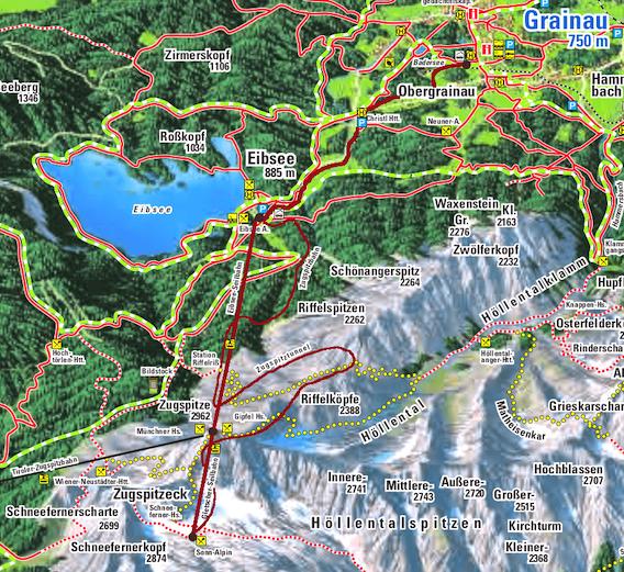 Route der Zugspitz-Rundreise mit Kindern